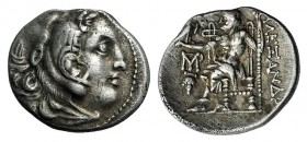 Islands off Ionia, Chios, c. 290-275 BC. AR Drachm (19mm, 4.11g, 12h). In the name and types of Alexander III of Macedon. Head of Herakles r., wearing...