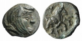 Ionia, Achaemenid Period. Spithridates, Satrap of Sparda (Lydia and Ionia, c. 334 BC). Æ (9mm, 0.86g, 2h). Head of satrap r., wearing Persian headdres...