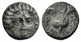 Islands of Caria, Rhodos. Rhodes, c. 408/7-390 BC. AR Hemidrachm (10mm, 1.60g, 12h). Head of Helios facing slightly r. R/ Rose within incuse square. A...