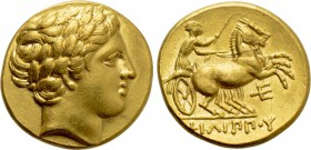 KINGS OF MACEDON. Philip II (359-336 BC). GOLD Stater. Amphipolis.