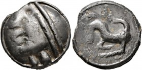 CELTIC, Central Gaul. Sequani. Circa 100-50 BC. Cast unit (Potin, 19 mm, 5.10 g, 4 h). 'Diademed' celticized head to left, wearing torques. Rev. Horne...