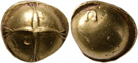 CELTIC, Northwest Gaul. Senones. Circa 100-60 BC. Stater (Gold, 12 mm, 7.13 g), Gallo-Belgic Bullet or Globular Cross type. Cross in center of plain g...