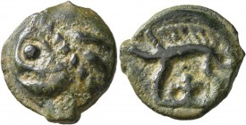 CELTIC, Northeast Gaul. Leuci. Circa 100-50 BC. Cast unit (Potin, 17 mm, 4.11 g, 9 h). Celticized male head to left. Rev. Boar left. DT 225. Gäumann 9...