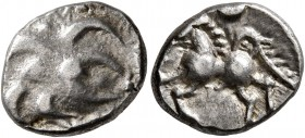 CELTIC, Central Europe. Helvetii. Mid 1st century BC. Quinarius (Silver, 13 mm, 1.74 g), 'Büschelquinar'. Head devolved into a bush. Rev. Celticized h...