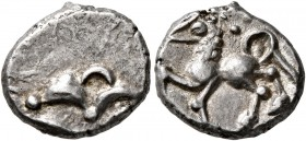 CELTIC, Central Europe. Helvetii. Mid 1st century BC. Quinarius (Silver, 13 mm, 1.88 g), 'Büschelquinar'. Head devolved into a bush. Rev. Celticized h...