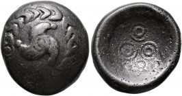 CELTIC, Central Europe. Vindelici. 1st century BC. Stater (Billon, 17 mm, 4.69 g), 'Regenbogenschüsselchen'. Triskeles within torc-shaped wreath. Rev....