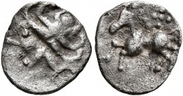 CELTIC, Central Europe. Vindelici. 1st century BC. 1/4 Quinar (Silver, 9 mm, 0.31 g). Celticized head to left. Rev. Horse left; above, five pellets. D...
