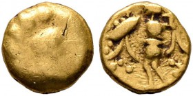 CELTIC, Central Europe. Boii. Late 2nd-early 1st century BC. 1/24 Stater (Gold, 5 mm, 0.33 g), Athena-Alkis-series. Bulge. Rev. Athena Alkis standing ...