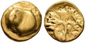CELTIC, Central Europe. Boii. 1st century BC. 1/24 Stater (Gold, 5 mm, 0.32 g), late Athena-Alkis-series. Bulge. Rev. Irregular design with dots and l...