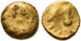 CELTIC, Central Europe. Boii. 1st century BC. 1/24 Stater (Gold, 5 mm, 0.36 g), late Athena-Alkis-series. Bulge. Rev. Athena Alkis standing left, hold...