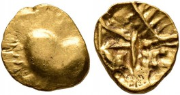 CELTIC, Central Europe. Boii. 1st century BC. 1/24 Stater (Gold, 7 mm, 0.32 g), latest Athena-Alkis-series. Flat irregular bulge. Rev. Irregular desig...