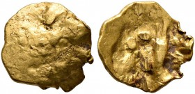 CELTIC, Central Europe. Boii. 1st century BC. 1/24 Stater (Gold, 7 mm, 0.26 g), latest Athena-Alkis-series. Flat irregular bulge. Rev. Irregular desig...