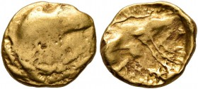 CELTIC, Central Europe. Boii. 1st century BC. 1/8 Stater (Gold, 9 mm, 0.92 g), latest Athena-Alkis-series. Flat irregular bulge. Rev. Irregular design...