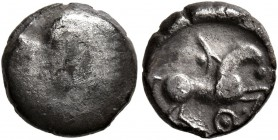 CELTIC, Central Europe. Boii. 1st century BC. Obol (Silver, 9 mm, 0.88 g), 'Roseldorf I' type. Bulge. Rev. Horse to right; below, pellet in annulet. D...