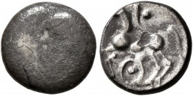 CELTIC, Central Europe. Boii. 1st century BC. Obol (Silver, 9 mm, 0.80 g), 'Roseldorf II' type. Bulge. Rev. Horse to left; below, pellet in annulet. D...