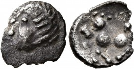 CELTIC, Central Europe. Boii. 1st century BC. Obol (Silver, 9 mm, 0.44 g, 10 h), Stradonice/Karlstein Type. Male head to left. Rev. Horse left. Leu We...