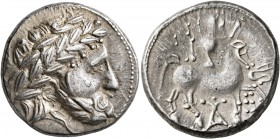 CELTIC, Carpathian region. Uncertain tribe. circa 2nd century BC. Tetradrachm (Silver, 24 mm, 13.51 g, 8 h), 'Audoleon monogram' type. Celticized laur...