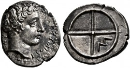 GAUL. Massalia. circa 410-380 BC. Obol (Silver, 11 mm, 0.75 g). MAΣΣAΛIΩT-AN Bare head of Apollo to right. Rev. Wheel of four spokes; M in one quarter...