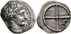 GAUL. Massalia. Circa 410-380 BC. Obol (Silver, 10 mm, 0.79 g). MAΣΣAΛI Bare head of Apollo to right. Rev. Wheel of four spokes; M in one quarter. Bre...