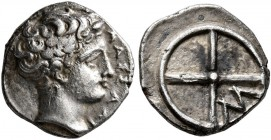 GAUL. Massalia. Circa 410-380 BC. Obol (Silver, 10 mm, 0.78 g). MAΣΣAΛI Bare head of Apollo to right. Rev. Wheel of four spokes; M in one quarter. Bre...
