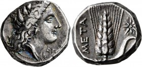 LUCANIA. Metapontion. Circa 330-290 BC. Didrachm or Nomos (Silver, 18 mm, 7.85 g, 7 h). Head of Demeter to right, wearing grain wreath, triple pendant...