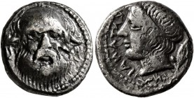 SICILY. Katane. Circa 405-403/2 BC. Drachm (Silver, 15 mm, 3.72 g, 4 h). Facing head of Silenos. Rev. KATANAIΩN (retrograde) Diademed head of Apollo t...