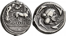 SICILY. Syracuse. Deinomenid Tyranny , 485-466 BC. Tetradrachm (Silver, 25 mm, 16.70 g, 3 h), circa 475-470. Charioteer driving quadriga walking to ri...