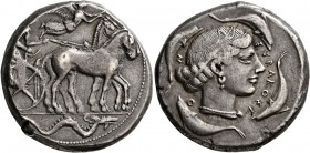 SICILY. Syracuse. Second Democracy , 466-405 BC. Tetradrachm (Silver, 25 mm, 17.35 g, 11 h), circa 450-440. Charioteer driving quadriga walking to rig...