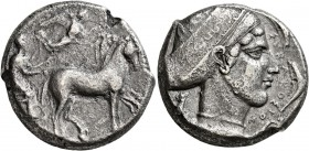 SICILY. Syracuse. Second Democracy , 466-405 BC. Tetradrachm (Silver, 24 mm, 16.64 g, 10 h), circa 430. Charioteer driving quadriga walking to right, ...