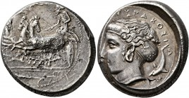 SICILY. Syracuse. Dionysios I , 405-367 BC. Tetradrachm (Silver, 24 mm, 17.14 g, 2 h), circa 405-400. Charioteer, holding kentron in his right hand an...