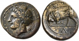 SICILY. Syracuse. Fourth Democracy , 289-287 BC. Hemilitron (Bronze, 18 mm, 3.76 g, 3 h). ΣYPAKOΣIΩN Head of Kore to left, wearing wreath of grain, ea...