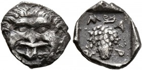 THRACE. Maroneia. Circa 398/7-386/5 BC. Obol (Silver, 10 mm, 0.61 g, 10 h). Facing Gorgoneion with protruding tongue. Rev. M-A-P-Ω Grape; all within i...