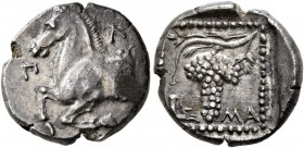 THRACE. Maroneia. Circa 377-365 BC. Tetrobol (Silver, 15 mm, 2.75 g, 6 h), Pl..., magistrate. Π-Λ Forepart of horse to left. Rev. MA Grape bunch and v...