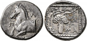 THRACE. Maroneia. Circa 377-365 BC. Tetrobol (Silver, 14 mm, 2.84 g, 5 h), Pl..., magistrate. Forepart of horse to left. Rev. M-A Grape bunch and vine...