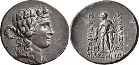 THRACE. Maroneia. Circa 189/8-49/5 BC. Tetradrachm (Silver, 33 mm, 16.73 g, 12 h). Head of youthful Dionysos to right, wearing ivy wreath and taenia. ...