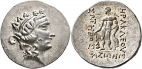 ISLANDS OFF THRACE, Thasos. Circa 148-90/80 BC. Tetradrachm (Silver, 32 mm, 15.90 g, 12 h). Head of youthful Dionysos to right, wearing ivy wreath and...