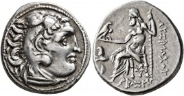 KINGS OF THRACE. Lysimachos, 305-281 BC. Drachm (Silver, 28 mm, 4.06 g, 1 h), Kolophon, circa 299/8-297/6 BC. Head of Herakles to right, wearing lion ...