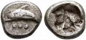 THRACO-MACEDONIAN REGION. Uncertain. Circa 500-480 BC. Hemiobol (Silver, 7 mm, 0.42 g). Dolphin left; below, three pellets. Rev. Rough incuse square. ...