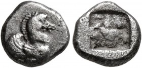 THRACO-MACEDONIAN REGION. Uncertain. Circa 500-480 BC. Obol (Silver, 8 mm, 0.80 g). Forepart of Pegasus to right. Rev. Quadripartite incuse square. SN...