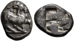 THRACO-MACEDONIAN REGION. Uncertain. Circa 480-450 BC. Trihemiobol (Silver, 10 mm, 0.89 g). Goat in the running/kneeling position to right; behind hea...