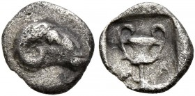 THRACO-MACEDONIAN REGION. Uncertain. Circa 480-450 BC. Tetartemorion (Silver, 7 mm, 0.23 g, 10 h). Head of a ram to right. Rev. Kantharos within incus...