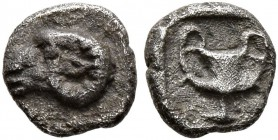 THRACO-MACEDONIAN REGION. Uncertain. Circa 480-450 BC. Tetartemorion (Silver, 5 mm, 0.23 g, 1 h). Head of a ram to left. Rev. Kantharos within incuse ...