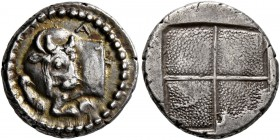 MACEDON. Akanthos. Circa 470-390 BC. Tetrobol (Silver, 14 mm, 2.54 g). Forepart of bull to left, head turned back to right; above, A. Rev. Quadriparti...