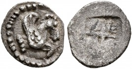 MACEDON. Argilos. Circa 470-460 BC. Tetartemorion (Silver, 8 mm, 0.26 g). Forepart of Pegasus to right. Rev. Quadripartite incuse square. Liampi 101-1...