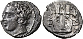 MACEDON, Chalkidian League. Circa 400 BC. Tetrobol (Silver, 14 mm, 2.33 g, 5 h), Olynthos. Laureate head of Apollo to left. Rev. XAΛKIΔEΩN Kithara. Ro...