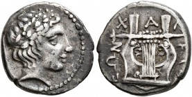 MACEDON, Chalkidian League. Circa 390 BC. Tetrobol (Silver, 15 mm, 2.33 g, 12 h), Olynthos. Laureate head of Apollo to right. Rev. XAΛKIΔEΩN Kithara. ...