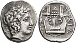 MACEDON, Chalkidian League. Circa 383/2 BC. Tetrobol (Silver, 15 mm, 2.39 g, 6 h), Olynthos. Laureate head of Apollo to right; behind, monogram (?). R...