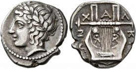 MACEDON, Chalkidian League. Circa 383/2 BC. Tetrobol (Silver, 15 mm, 2.35 g, 12 h), Olynthos. Laureate head of Apollo to left. Rev. XAΛK[IΔE]ΩN Kithar...