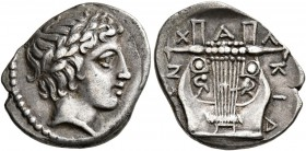 MACEDON, Chalkidian League. Circa 383/2 BC. Tetrobol (Silver, 17 mm, 2.34 g, 12 h), Olynthos. Laureate head of Apollo to right. Rev. XAΛKIΔ[E]ΩN Kitha...