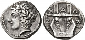 MACEDON, Chalkidian League. Circa 383/2 BC. Tetrobol (Silver, 15 mm, 2.33 g, 12 h), Olynthos. Laureate head of Apollo to left. Rev. XAΛKIΔ[E]ΩN Kithar...